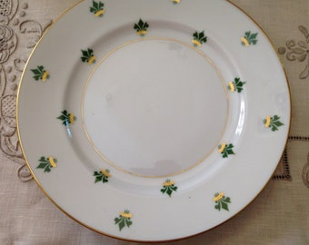 Antique Victorian Bavaria-Germany Eschenbach Porcelain Holiday Plate H-P Decoration of Green/Gold Fluer De Lis Gold Trim Trademarked Verso