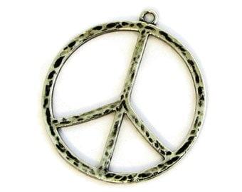 Peace Sign Pendant / Silver Peace Sign Pendant / Large Peace Sign Pendant