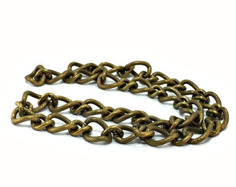 Antique Brass Curb Chain / Gunmetal Curb Chain / Large Curb Chain /  Chunky Curb Chain / 14mm x 16mm Curb Chain / One Foot Curb Chain