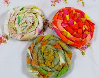 Vintage Fabric Rosette Magnets Five Dollars Set of Three Fabric Rosettes in Vintage Fabric Flowers Oranges and Pinks