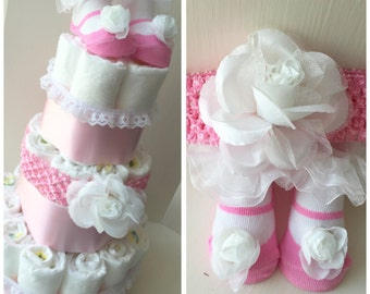 White Rose Headband and Matching Socks Pink It's a Girl Diaper Cake
