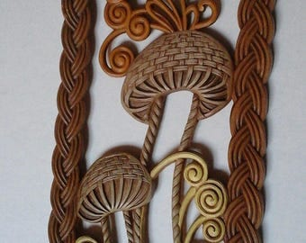 70s Mushroom Plaque, Burwood 1979 Mushroom, Butterfly Faux Wicker Wall Hanging Picture