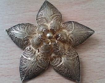 vintage Topazio vermeil 925 filigree brooch