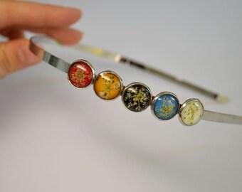 Rainbow Headband Flower Headband Hair Jewelry Floral Jewelry Accessories  Resin Headband Colorful Headband Real Dried Flowers Mothers Gift