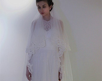 Two Layer Bridal Soft Tulle Alencon Lace Veil Pearl beaded , Cathedral Chapel length wedding veil with comb, Bride 2 Tiers hair Blusher Veil