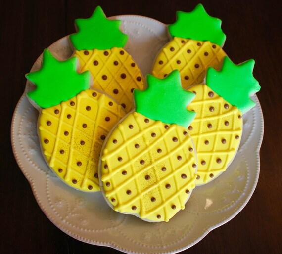 Large Pineapple Hawaiian Luau Fruit Cookies Summer Cookies