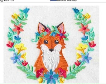Cute floral fox with garland embroidered sweatshirt made to order in your choice of colour/ sizes