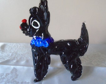 Large mirano glass dog 50's 60's
