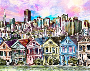 San Francisco Art Print, Skyline art, San Fran Painting