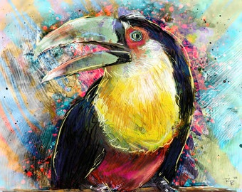 Toucan Art, Bird Painting, Tropical Art