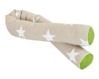 KraftKids bedroll large white star on beige and white dots on green
