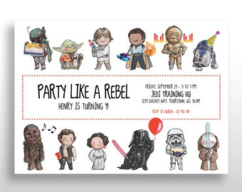 CUSTOMIZED PRINTABLE Star Wars Invitations, Star Wars Invite, Birthday Party, DOWNLOAD from home, .pdf and .jpg files with custom text