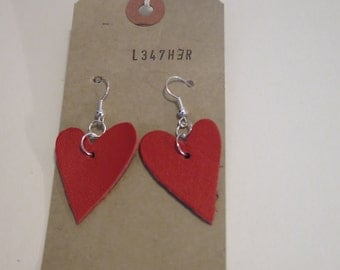 Red Leather Heart Earrings