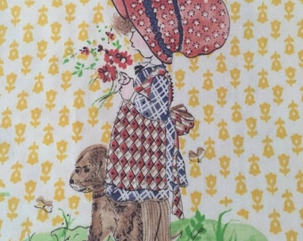 Holly Hobbie Vintage Cotton Fabric Quilting Crafts 2 Yards