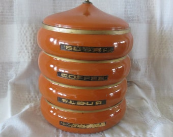Canister Set orange, 1960's 4 Stacking Metal Canisters Mid Century Modern, 1960's Kitchen Decor