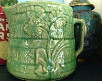 Vintage spring green pottery jug