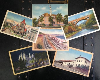 Vintage travel postcards from the 1940's