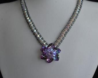 "Crystal necklace Swarovski ""Wedding Day"" light window flower, night silver and crystal choker ab2x"