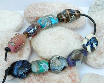 Silver Glass Shards Lampwork Bead Set SRA