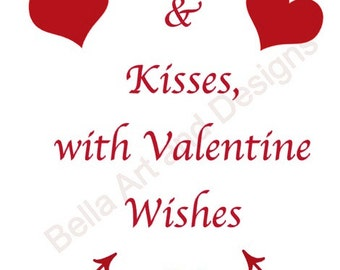JPG Love & Kisses, with Valentine Wishes with arrows - digital artwork