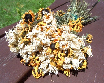 Dried Daisies and Black-Eyed Susans, Dried Flowers.  Brown-Eyed Susans, bouquets, arrangements, preserved flowers.