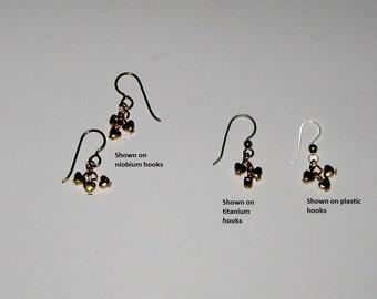 Hypoallergenic Heart Earrings /Dangle Heart Earrings /Tiny Gold Heart Earrings/, Choice of Titanium,Niobium or Plastic French Hooks