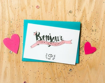 Personalized Stationery, Bonjour Stationery, Bonjour From the Other Side,