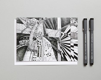 Blank greeting card 'London Black and White' /doodle/zen art/ made in the UK