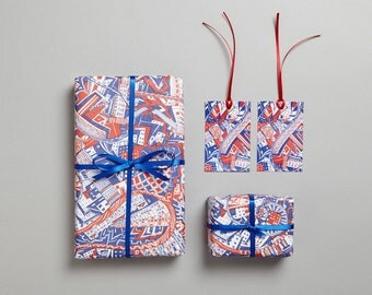 London Red and Blue doodle/zentangle recycled wrapping paper/gift wrap with matching gift tags designed and printed in the UK