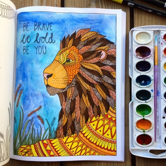 Adult Coloring Book Handdrawn Inkspriations Animal Kingdom