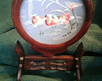 Chinese silk double-sided embroidery ducks in a wooden frame