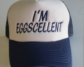 I'm Eggscelent foam mesh embroidered cap, regular show inspired