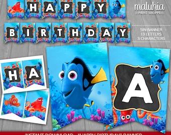 Finding Dory Birthday Banner - INSTANT DOWNLOAD - Disney Dory Digital Printable - Finding Dory Nemo Happy Birthday Pennant - Dory Nemo