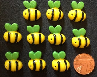 Resin Flatback Cute Bees 10pk