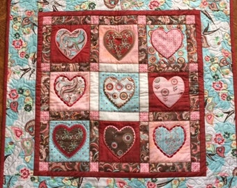 Appliqued Hearts Quilted Wall Hanging