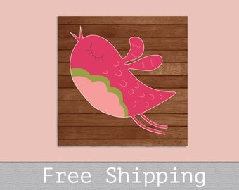 Baby Room Canvas - Bird Canvas - Custom Canvas Print - Nursery Decor - Wall Decor - Free Shipping