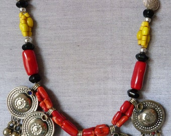 KUCHI with red coral NECKLACE and Silver 925