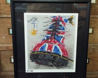 Best foot forward // Framed Dm painting // Dr Marten British boots // Union Jack // Doc Martins artwork // DM's rock !! //  feet shoes art /