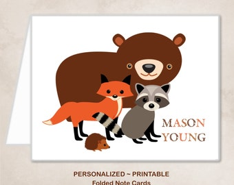 Personalized Printable Woodland Animals Fox Bear Raccoon Hedgehog Thank You Note Cards Children Kids Birthday Party Thank You Cards ~ DIY