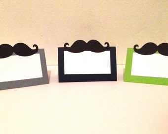 10 Mustache Place Cards - Little Man Birthday - Little Man Baby Shower - Little Man Party Decorations - Mustache Party - Pick any color