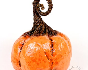 Pumpkin decor large orange paper mache sculpture for Fall, Halloween and Thanksgiving