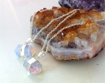 Opalite pendant on sterling silver chain