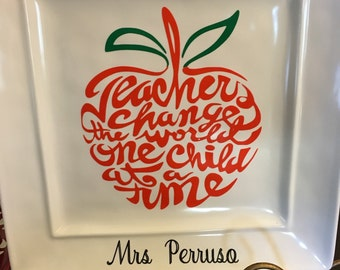 Ready to ship, Teacher plate, teachers gift, personalized  teachers gift