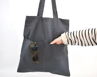 Cotton Bag, Grey, Bag, Jute Bag