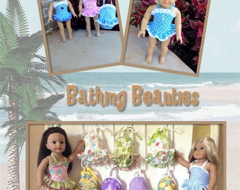 18 Inch Doll Bathing Suit,AG Doll, One Piece Suit, Pink, Blue. Boutique Style, Swimwear.1950's