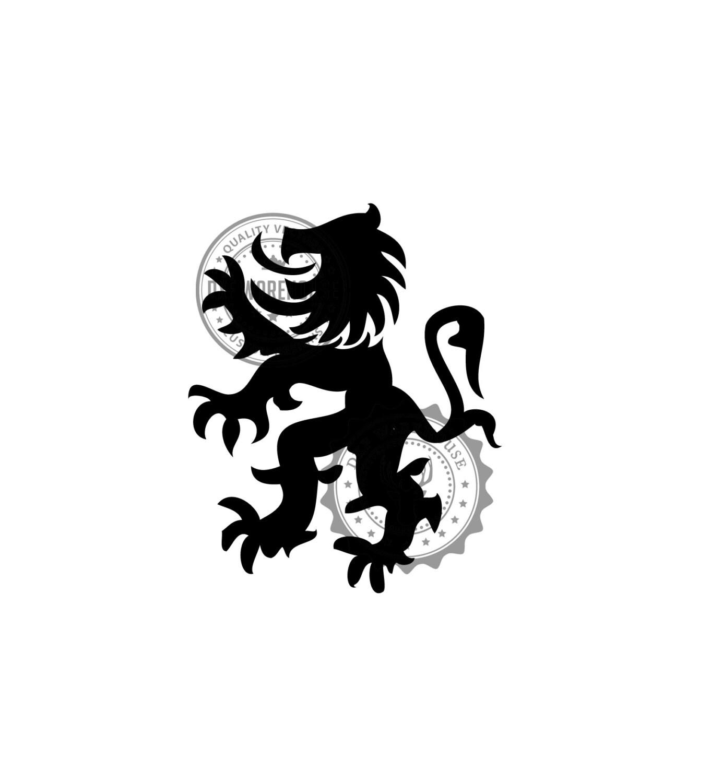 Standing Lion Crest .DXF file CNC Vector Cut file art for