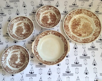 Long Journey Home~Royal Tudor Ware~Brown~Carriage~Transferware~5 Piece~Three Soup Bowls~One Dinner Plate~One Serving Bowl