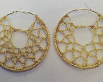 Golden Webby leverback hoop crochet pierced earrings