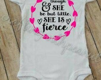 She is little but she is fierce, little but fierce bodysuit, baby gift, baby shower gift, baby bodysuit