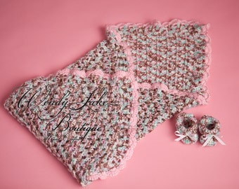 RTS Crochet Baby Set, Blanket and Newborn Size Booties -- Handmade Baby Gifts crocheted in shades of pink brown blue.